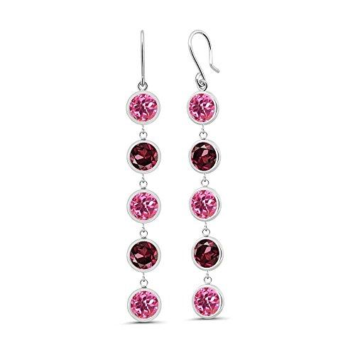 Garnet & Earrings Pink Topaz (5.00 Ct Round Pink Mystic Topaz Red Rhodolite Garnet 925 Sterling Silver Earrings)