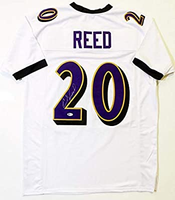quality design ba8f4 5f9d2 Ed Reed Autographed White Pro Style Jersey - Beckett Auth at ...