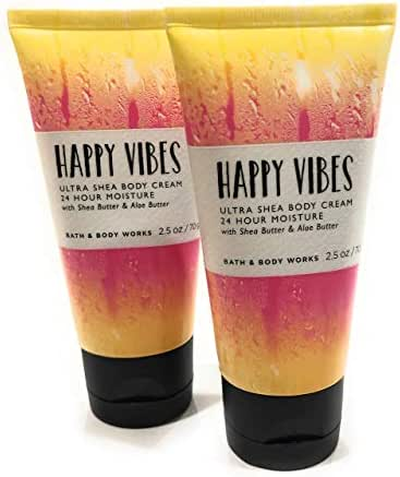 Bath and Body Works 2 Pack Happy Vibes Ultra Shea Body Cream. 2.5 Oz Travel size