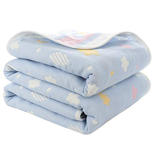 Premium Toddler Blankets - 6 Layers of 100% Organic Hypoallergenic Muslin Cotton Throw/Swaddle Blanket/Baby Receiving Swaddling Blankets - Perfect Infant Newborn Girl Boy Shower Gift - 59