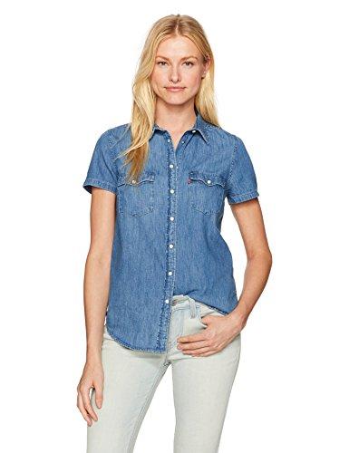 Levi's Women's Larissa Short Sleeve Western Shirt, Love Blue, X-Small ()