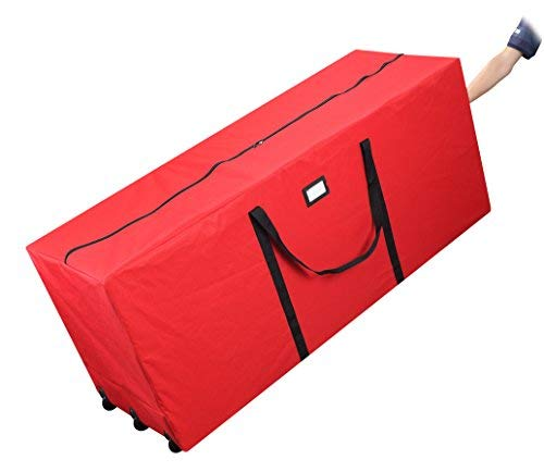 Primode Holiday Rolling Tree Storage Bag, Extra Large Heavy Duty Storage Container, 25 Height X 20 Wide X 60 Long With Wheels And Handles (Red)