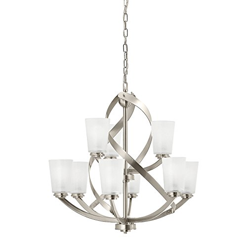 Kichler Layla 26.26-in 9-Light Brushed Nickel Etched Glass Shaded Chandelier