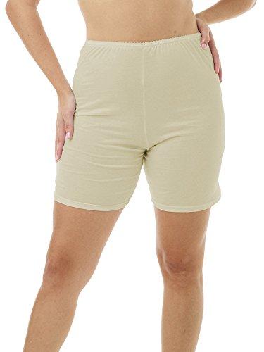 Underworks Womens 100% Cotton Cuff Leg Bloomers 8-inch Inseam Beige 3-Pack 6X 51-52 Hips
