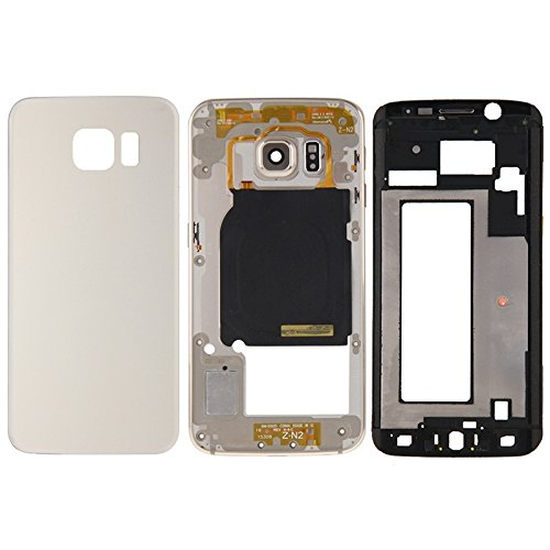 iPartsBuy Full Housing Cover Replacement(Front Housing LCD Frame Bezel Plate + Back Plate Housing Camera Lens Panel + Battery Back Cover Replacement) for Samsung Galaxy S6 Edge G925(Gold) ()