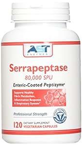 Serrapeptase 80,000 SPU – 120 Vegetarian Capsules - Premium Natural Systemic Enzyme – Enteric-Coated Serrapeptase – AST Enzymes