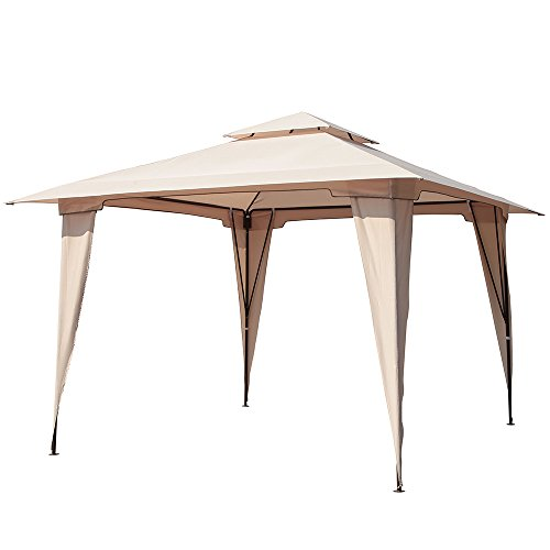 PATIOROMA 11.5 by 11.5 Feet Outdoor Backyard 2-Tier Steel Soft Top Patio Gazebo, Beige