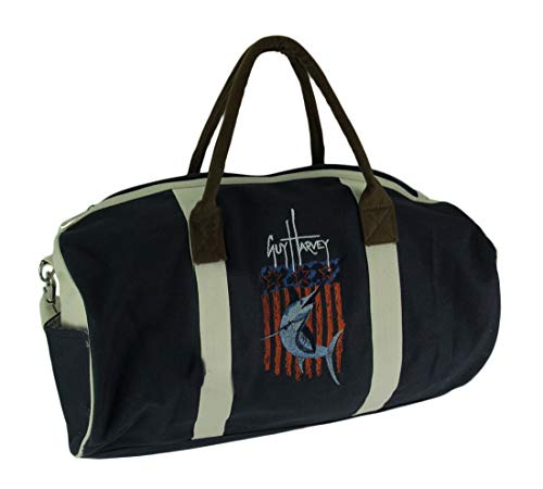 Embroidered Duffle Bags - Guy Harvey Round Canvas Duffel Bag