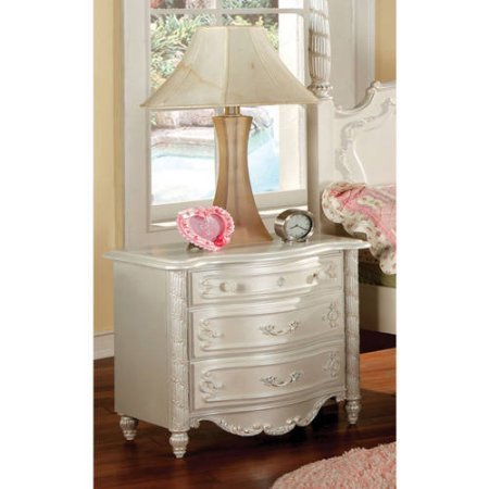 Furniture of America Caity Traditional Youth Nightstand, Pearl White (Macy's Patio Furniture Clearance)
