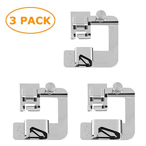 3 Pieces Rolled Hem Pressure Foot Sewing Machine Presser Foot Hemmer Foot Set (4/8 Inch, 6/8 Inch, 8/8 Inch) Adjustable Wide Hemmer Foot Set (Hemmer Sewing Machine)