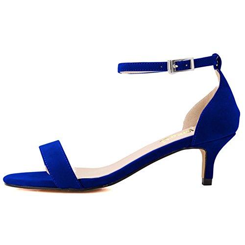 EKS Summer Shoes Woman Thin Heels Fashion Ladies Shoes Sandals Ankle Strap Metal Buckle Blue-Suede hsHs0
