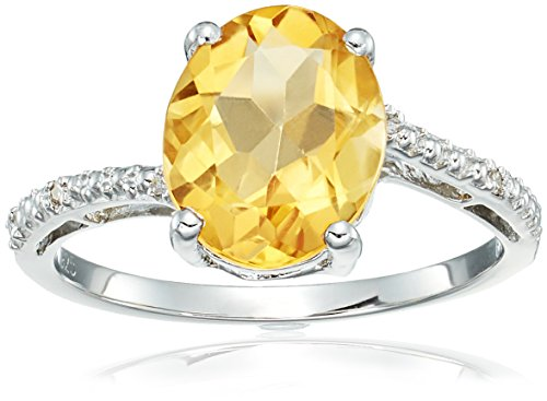 2.4 Ct Oval Natural Yellow Citrine .01 cttw Diamond Sterling Silver Ring Sz 6
