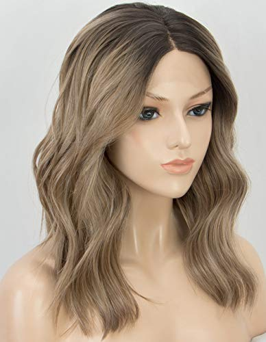 K'ryssma Short Bob Lace Front Wigs Wavy Ash Brown Ombre Synthetic Wig with Black Roots Middle Parting Half Hand Tied Heat Resistant