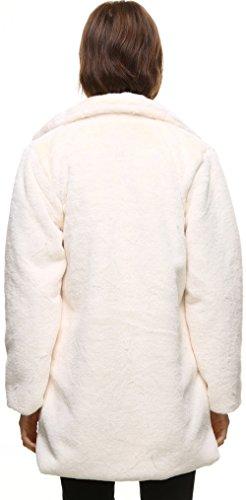 vogueearth Pelo Mujer' Artificial Otoño Invierno Piel Sintético Largo down Collar Abrigo Chaqueta Sintética Sleeve blanco Off Pelaje Turn Sintético rfzwrqgR