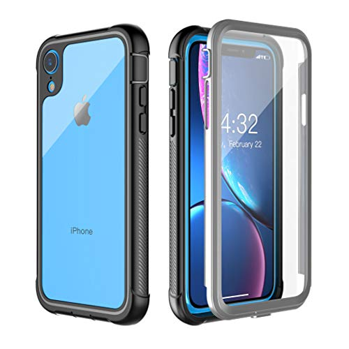 Clear Designed Case for iPhone XR Case,Pakoyi Full Body Bumper Case with Built-in Screen Protector Slim Clear Shock-Absorbing Dustproof Lightweight Cover Case for iPhone XR (6.1 inch)-Black+Gray/Clear (Heavy Multi Glitter)