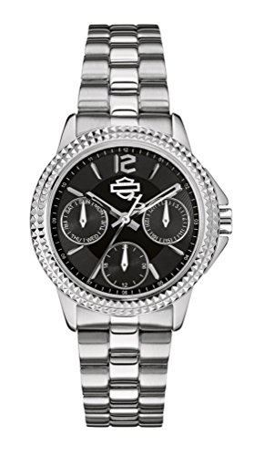 Harley-Davidson Women's Bulova Watch, Subdials Bar & Shield, Stainless 76N101