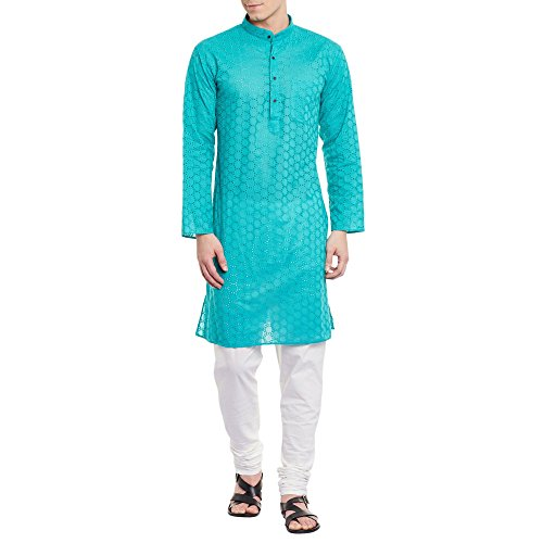 ShalinIndia Mens Embroidered Cutwork Cotton Kurta Machine Embroidery, Turquoise Chest Size: 46 Inch (Set Travel Embroidered Mens)