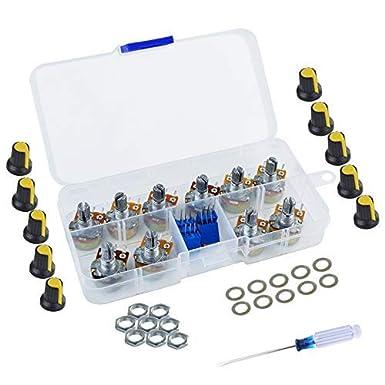 Lystaii - Kit surtido de potenciómetros, juego de trimmer multigiro de 1 Kohm -100 Kohm, 1 Kohm -1 Mohm de resistencia variable de alta precisión lineal con empuñaduras y destornillador: Amazon.es: Industria, empresas y ciencia