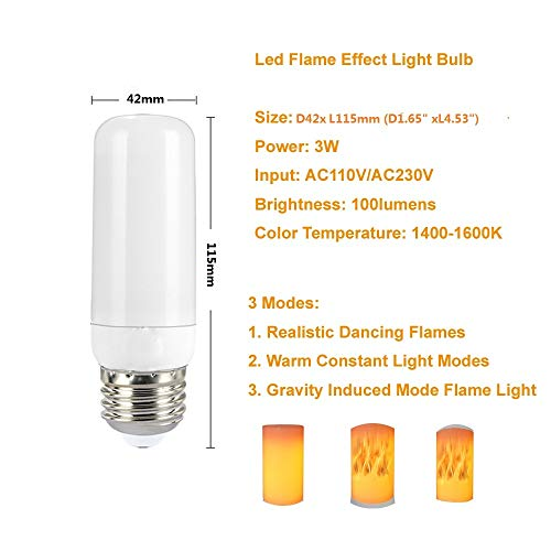 Led Flame Effect Light Bulb 3w Flickering Fire Light Bulbs with Upside Down Effect Yellow Flame Bulb E26 Vintage Atmosphere for Christmas Holiday Party Restaurant Outdoor Home Decor (2 Pack)