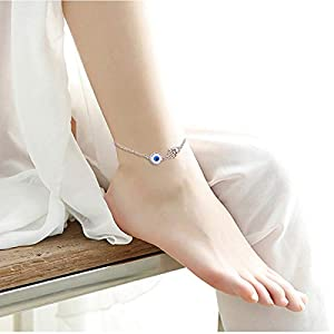 S925 Sterling Silver Anklet for Women Girl Boho Beach Charm Adjustable Foot Ankle Bracelet Jewelry Birthday Gift