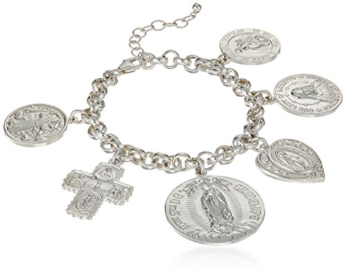 Dogeared Peace, Love and Protection Saints Multi Charm Bracelet, Sterling Silver, 6