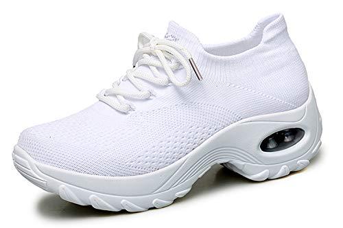 Ezkrwxn White Slip on Shoes for Women Platform Walking Shoes air Cushion Flyknit Breathable Comfort Nurse Office Work Fashion Sneakers Ladies Wedge Gym Tennis Shoe Size 5 (Z1862-White-35) (Nurse Platform Shoes)