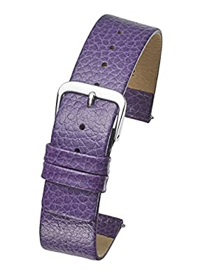Genuine Leather Watch Band - Smooth Flat Leather Watch Strap 12mm, 14mm, 16mm, 18mm - Black, tan, Burgundy, Pink, Blue, Green, Purple, Yellow from ALPINE INTERNATIONAL