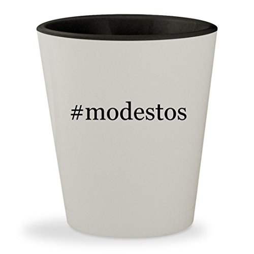 #modestos - Hashtag White Outer & Black Inner Ceramic 1.5oz Shot Glass (Party City Modesto California)