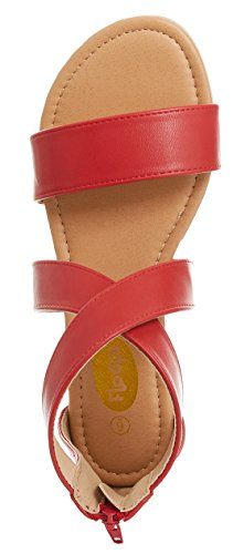 Criss Sandal Flat Summer Red Cross Womens Back Floopi W Ankle Gladiator Zipper Strap w8FZEgBqn