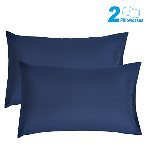 SUNNEST 2 Queen Size Pillowcases Ultra Soft 100% Brushed Microfiber, 30 X 20, Navy Blue