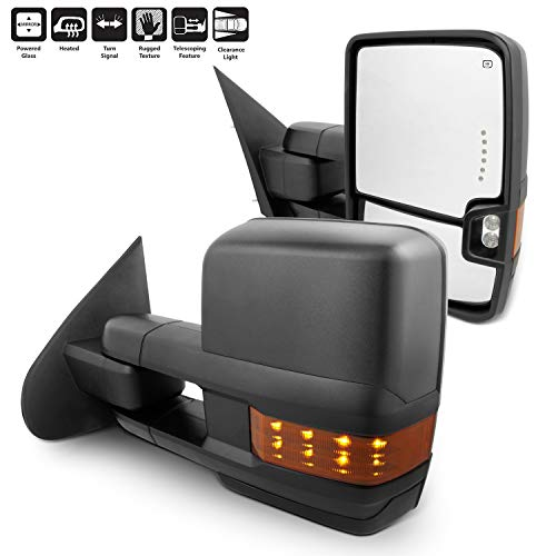 For 14-18 Silverado Sierra Pair of Power Fold + Heated + Turn Signal Glass Side Black Texture Towing Mirrors ()