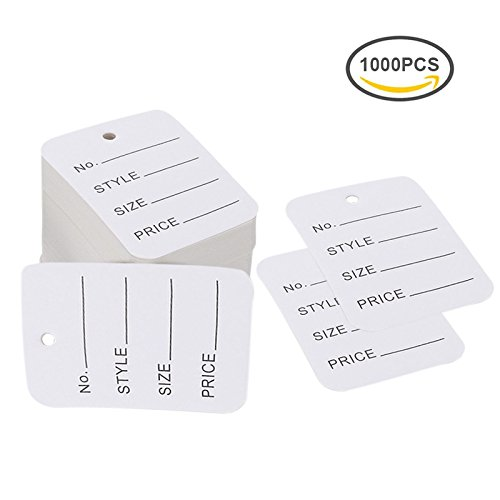 Price Tags,Merchandise Marking Tags,White Paper Price Clothing Tag Labels,Box of 1000 - Blank Merchandise Tag