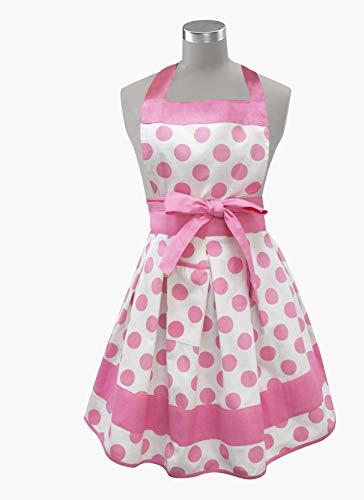 Kovot Womens Kitchen Apron   100% Cotton Made in India (Pink/White Polka Dot) ()