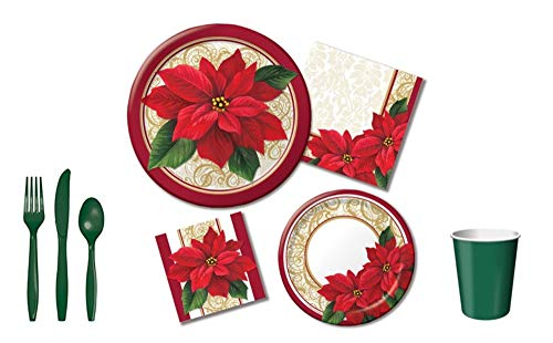 (Poinsettia Lace Holiday Party Pack; Dinner/Luncheon Plates, Napkins,Cups,Cutlery 6-pc Bundle, Serves 8 )