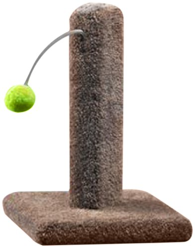 - Ware Manufacturing Carpeted Kitty Cactus Scratch Post with Pom Pom, 16-Inch