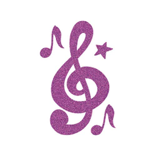 (Sugar Glittered Temporary Tattoo Sparkling Purple Music Notes Upper & Lower Back Shoulders Hands Removable Tattoos Stickers - Made in USA)