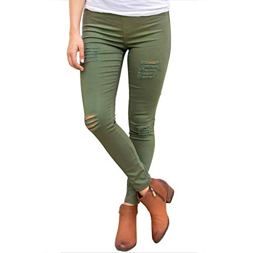 JAGETRADE Womens Plus Size Spring High Waist Skinny Jeans Ribbed Holes Destroyed Knee Pencil Pants Casual Stretch Solid Color Trousers S-2XL 4 Colors