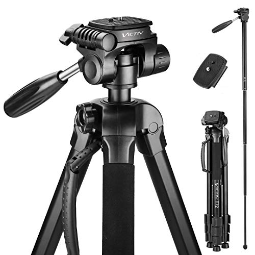 Victiv 72-inch Camera Tripod Aluminum Monopod T72 Max. Height 182 cm – Lightweight and Compact for Travel with 3-way Swivel Head and 2 Quick Release Plates for Canon Nikon DSLR Video Shooting – Black