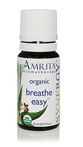 AMRITA Aromatherapy: Breath Easy Synergy Essential Oil Blend - USDA Certified Organic Essential Oil Blend of Citronella Nardus, Siberian Fir, Sweet Eucalyptus Globulus - Pure & Undiluted -Size: 10ML