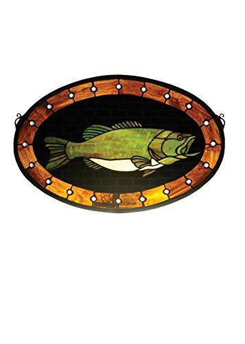 Meyda Tiffany 23970 Bass Plaque Stained Glass Window, 22