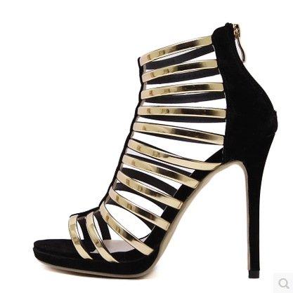 ZHUDJ Zapatos Brillantes Sandalias De Tacón Alto De Banda con Una Fina Color Sandalias De Tacón Alto De Discoteca,Negro,39 Thirty-nine|black