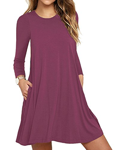 Unbranded* Women's Long Sleeve Pockets Casual Swing T-Shirt Dresses Mauve X-Large