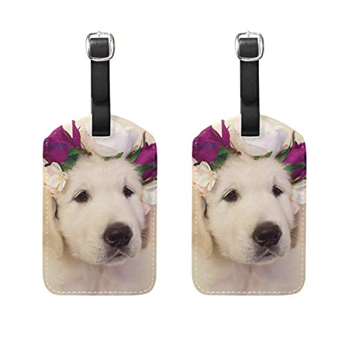 Leather Luggage Tags, Golden Retriever Dog (104) Bag Tags for Travel Bag Suitcase, 2 Pieces Privacy Cover