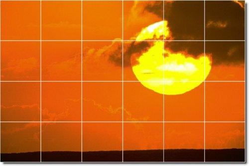 Sunsets Photo Ceramic Tile Mural 23. 48x72 Inches Using (24) 12x12 ceramic tiles.