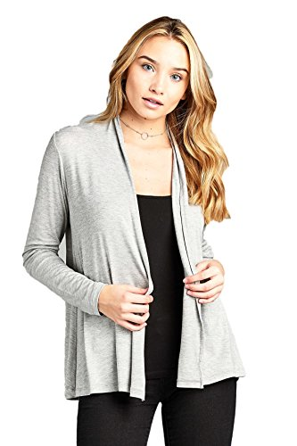 ReneeC. Women's Extra Soft Natural Bamboo Open Front Cardigan – Made in USA (Small, Grey)