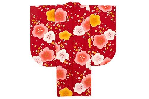 袴用二尺袖着物 赤 レッド ピンク 黄色 梅 桜吹雪 花 レトロモダン 小紋柄 小振袖 卒業式 謝恩会 女性