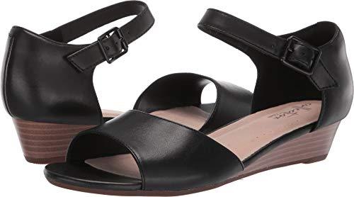 CLARKS Women's Abigail Jane Wedge Sandal Black Leather 085 M US ()