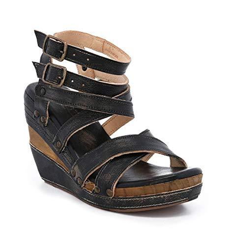 Bed|Stu Women's Juliana Leather Wedge Sandal (6.5 M US, Black Hand Wash)