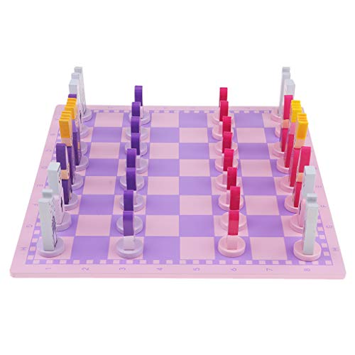 Fityle Travel Chess Set with Chess Board Educational Toys for Kids and Adults Pink