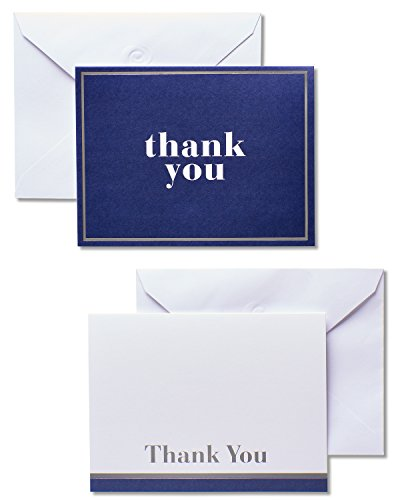 American Greetings, Assorted Stationery, Blue and White Thank-You Cards and White Envelopes, 50-Count